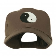 Traditional Chinese Symbol Yin and Yang Embroidered Cap - Brown