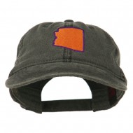 Arizona State Map Embroidered Washed Cotton Cap - Black