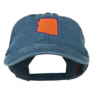 Arizona State Map Embroidered Washed Cotton Cap - Navy