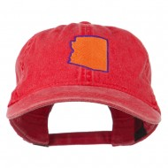 Arizona State Map Embroidered Washed Cotton Cap - Red