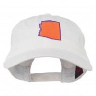Arizona State Map Embroidered Washed Cotton Cap - White