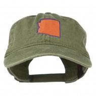 Arizona State Map Embroidered Washed Cotton Cap - Olive Green