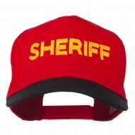 Sheriff Embroidered Cotton Twill Cap - Black Red