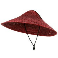 Western - Red Colored Straw Coolie Hat