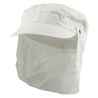 Flap Cap - White Army Cap with Removable Flap