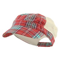 Cadet - Red Fashion Plaid Mesh Army Cap