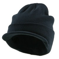 Beanie Visored - Navy Beanie With Short Visor