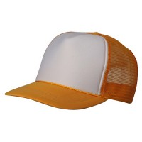 Ball Cap - Yellow White Foam Mesh Trucker Cap