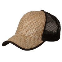 Ball Cap - Natural Brown Straw Trucker Cap