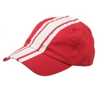 Embroidered Cap - Red White Low Stripe Cotton Cap