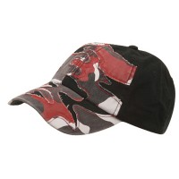 Ball Cap - Red Camo Patched Enzyme Washed Cap