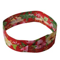 Band - Red Pleated Palm Tree Hatband