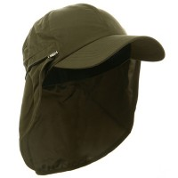 Flap Cap - Olive Zippered Micro Fiber Flap Cap