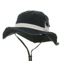 Outdoor - Navy White Washed Frayed Bucket Hats