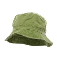 Bucket - Apple Green Khaki Cotton Bucket Hats Plaid Trim
