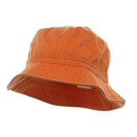 Bucket - Orange Khaki Cotton Bucket Hats Plaid Trim
