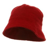 Bucket - Red Winter Plain Chenille Bucket Hats