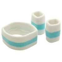 Band - Light Blue White Set Rasta Headb, Wrist Bands