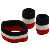 Band - Red White Navy Set Rasta Headb, Wrist Bands