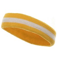 Band - Yellow White Terry Color Stripe Headband