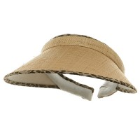 Visor - Leopard Sewn Braid Wheat Straw Visors