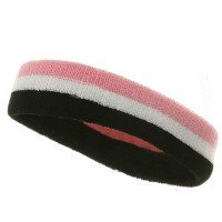 Band - Black White Pink Tri-Color Striped Terry Headband
