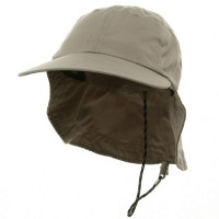 Flap Cap - Khaki Microfiber Cap with Flap