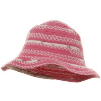 Bucket - Pink Flower Twisted Toyo Hat