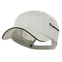 Ball Cap - White Black Low Washed Zipper Pocket Cap