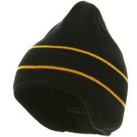 Beanie - Black Gold Two Tone Ear Flap Knit Beanie