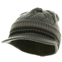 Beanie Visored - Grey Black Acrylic Rasta Hat