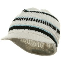 Beanie Visored - White Navy New Rasta Hat