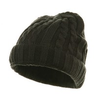 Beanie - Charcoal Grey Two Tone Cuff Twister Ski Beanie