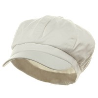 Newsboy - White Cotton Elastic Newsboy Cap