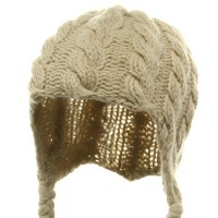 Beanie - Beige Wool Blend Youth Cable Helmet Hat