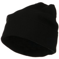 Beanie - Black Big Size Fleece Beanie Hat