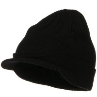 Beanie Visored - Black Big Knit Ribbed Beanie Visor
