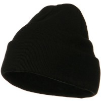 Beanie - Black Big Size Cotton Long Knit Beanie