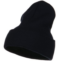 Beanie - Navy Big Stretch Plain Cuff Long Beanie