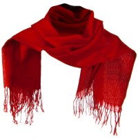 Scarf, Shawl - Red Solid ML Pashmina Silk Scarf