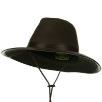 Outdoor - Brown Leather UPF 50+ Safari Hat with Leather Trim