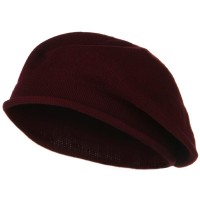 Beret - Cranberry Toddler Rolled Brim Cotton Beret