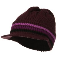 Beanie Visored - Purple Black Acrylic Rasta Hat