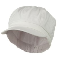 Newsboy - White Cotton Elastic Youth Cap
