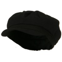 Newsboy - Black Cotton Elastic Big Size Cap