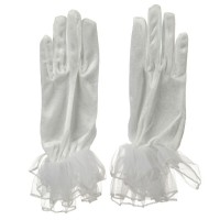 Glove - White Long Organza Masquerade Glove