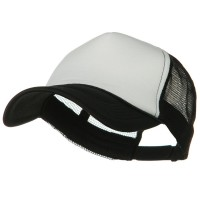 Ball Cap - White Black Big Size Foam Mesh Truck Cap