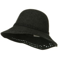 Bucket - Charcoal Laser Cut Brim Wool Felt Hat