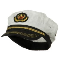 Costume - White Black Linen Captain Hat
