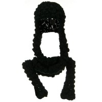 Scarf, Shawl - Black Knitted Hood Scarf
